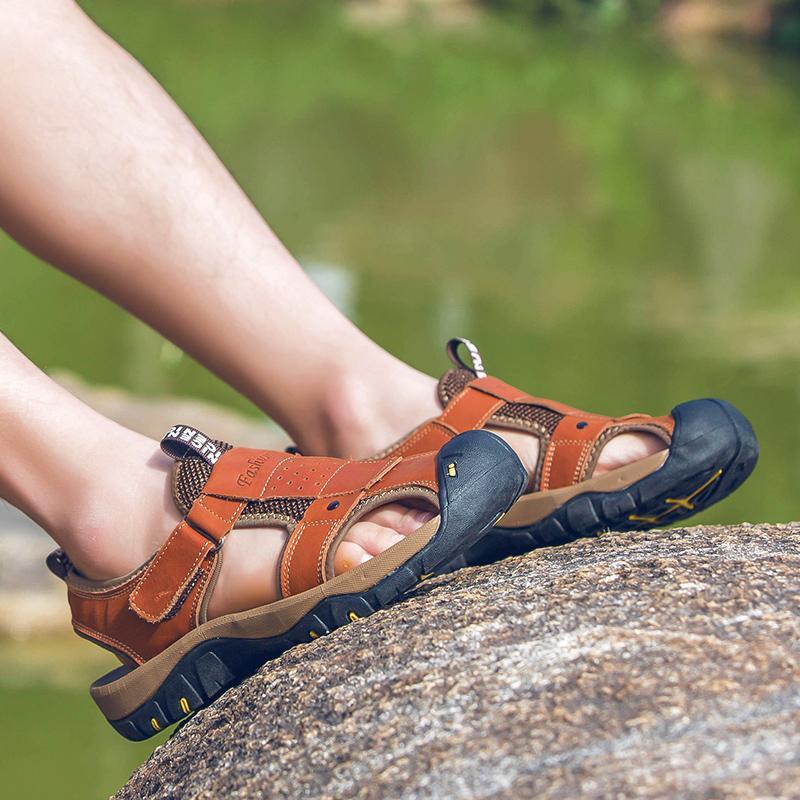 Deri sandels erkek mens için roman 2020 açık sandles sandalia verano moda lastik mens terlik adam işi playa DEPORTIVAS