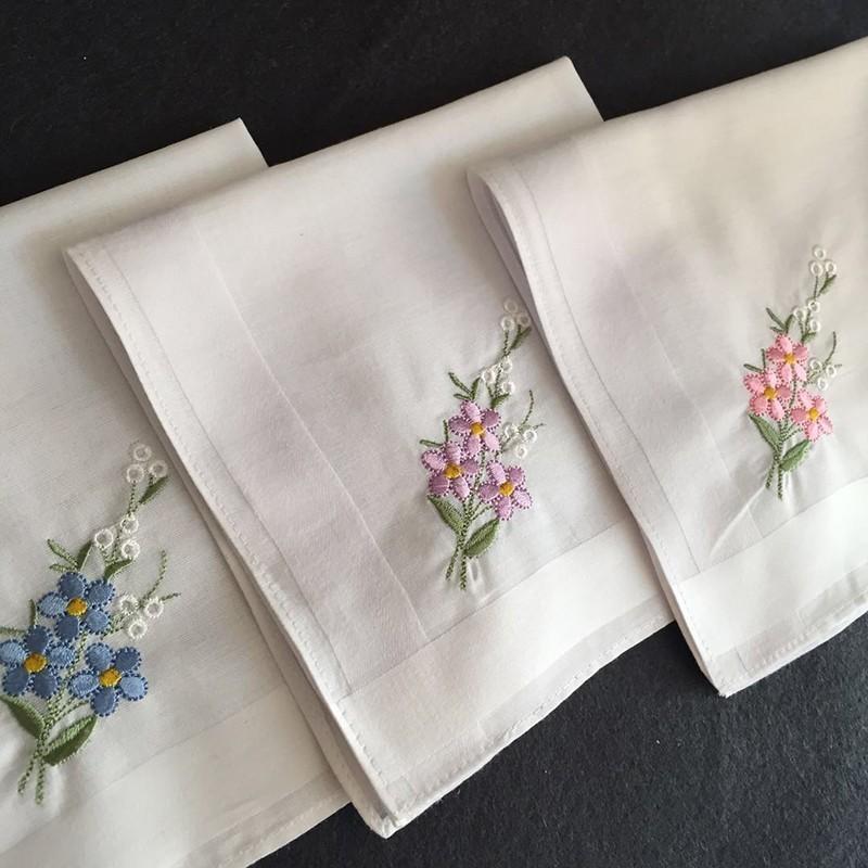 30x30 cm vintage senhoras mulheres branco algodão lenço de bolso quadrado bordado flores florais hankies casamento hanky presente