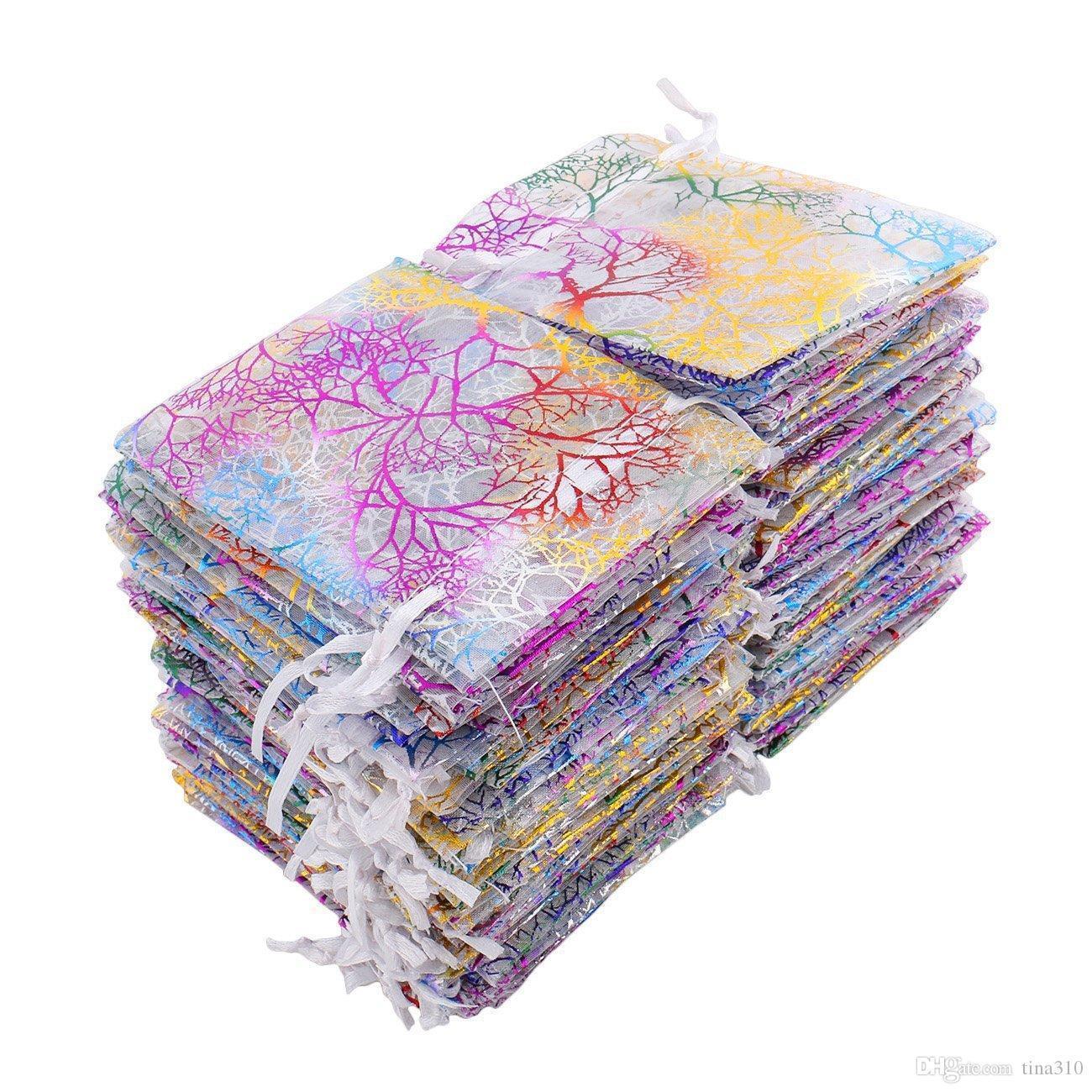 Горячие продажи 9 * 12 см коралловый узор подарочная пряжа сумка Луч порт марлевый мешок орнамент упаковка сумка бытовые принадлежности T3I0038