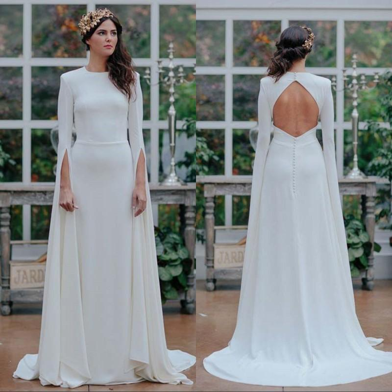 Robe de mariée blanche mince Jupe longue 2020 Spring New Backless dîner Cour queue Robes de mariée Robes Verano