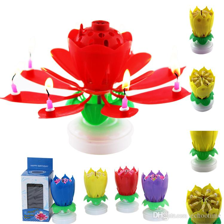 300PCS Sparkling Romantic Musical Candle Lotus Flower Party Gift Art Happy Birthday Candle Lights Party DIY Cake Decoration for Kids