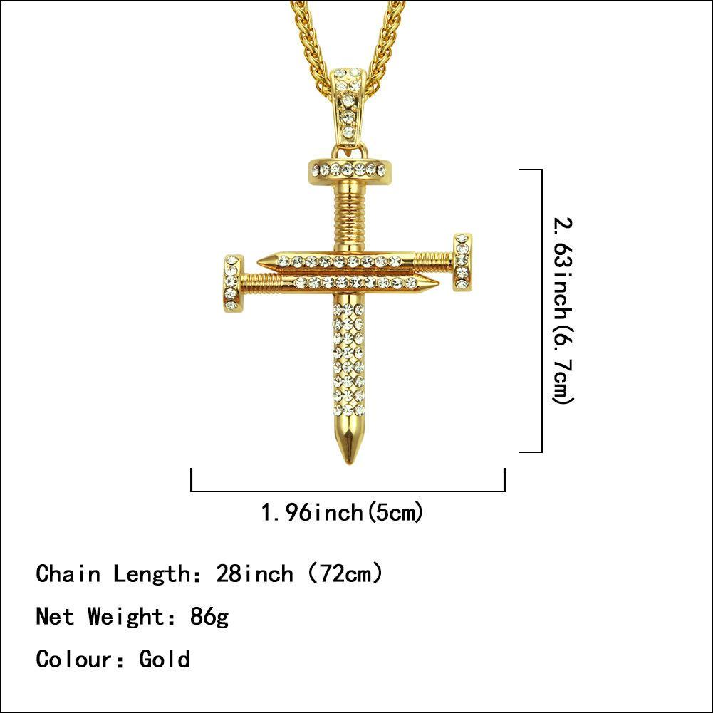 Алмазный Набор резьбы Крест ногтей ожерелье европейских и американских мужские Прохладный Hip Hop Подвеска