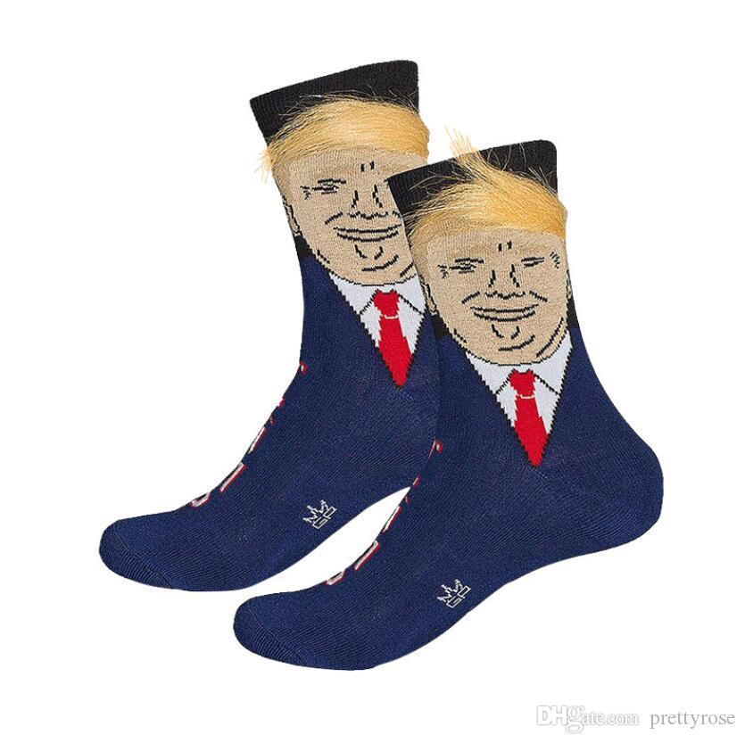 Président Donald Trump Unisexe Chaussettes avec 3D Faux Cheveux Drôle Imprimer Adultes Moyen Long Bas Bas Hommes Femmes Crew Chaussettes Cadeau Créatif 4 Couleurs