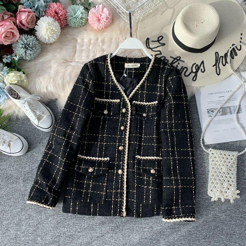 2019 cappotto da donna di nuova moda Giacca popolare scollo a V temperamento retrò in tweed spesso sciolto
