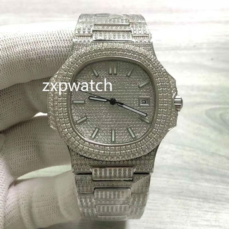 Neue Männer Eis-Diamant-Uhr-4-Farben-Edelstahl-Kasten-Uhr-Multi-Color-Diamant-Gesicht Armbanduhr-automatische mechanische Uhren