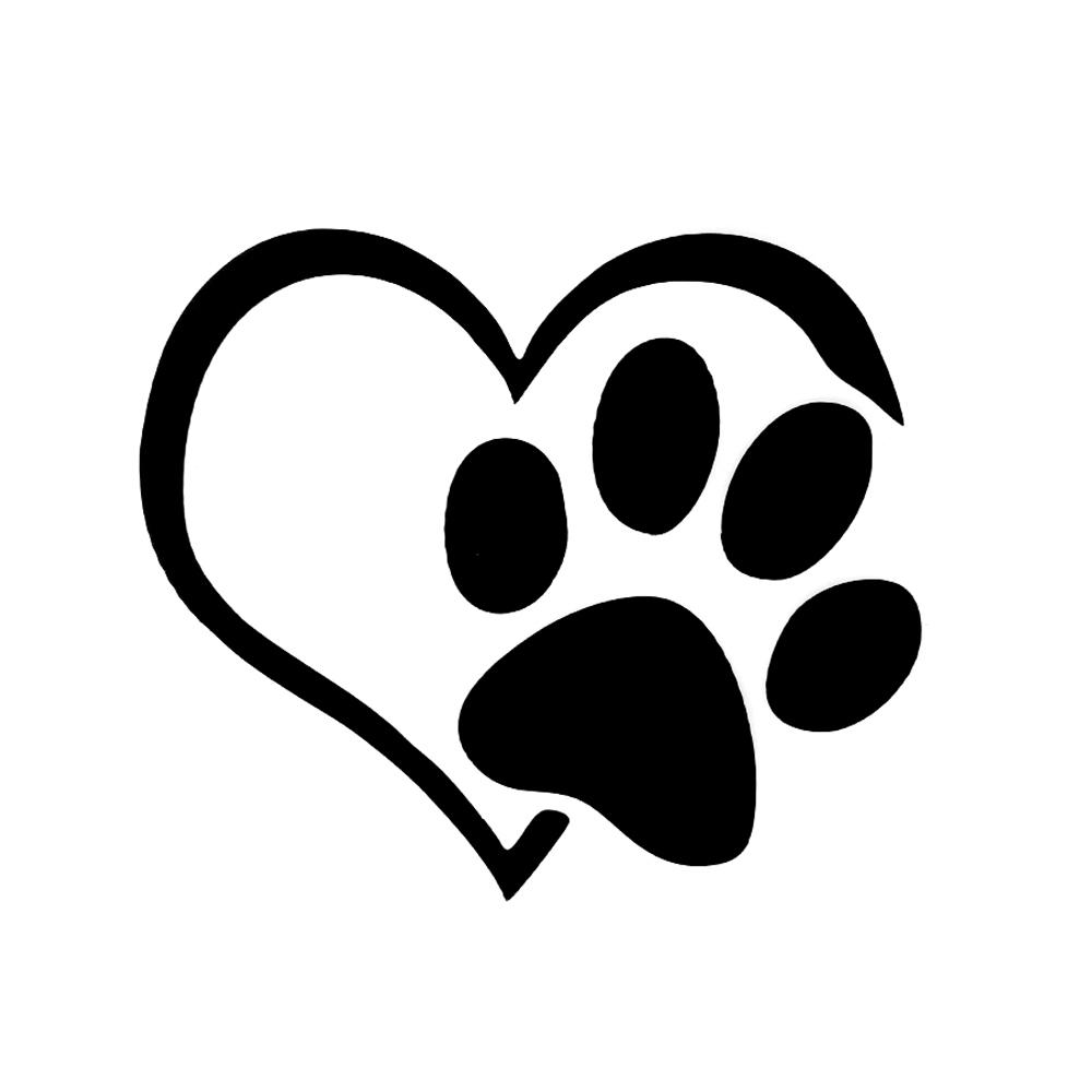 Lovely Heart Shaped Dog Cat Paw Print Car Sticker for Camper Van Motorcycles Waterproof Vinyl Decal for Car Styling