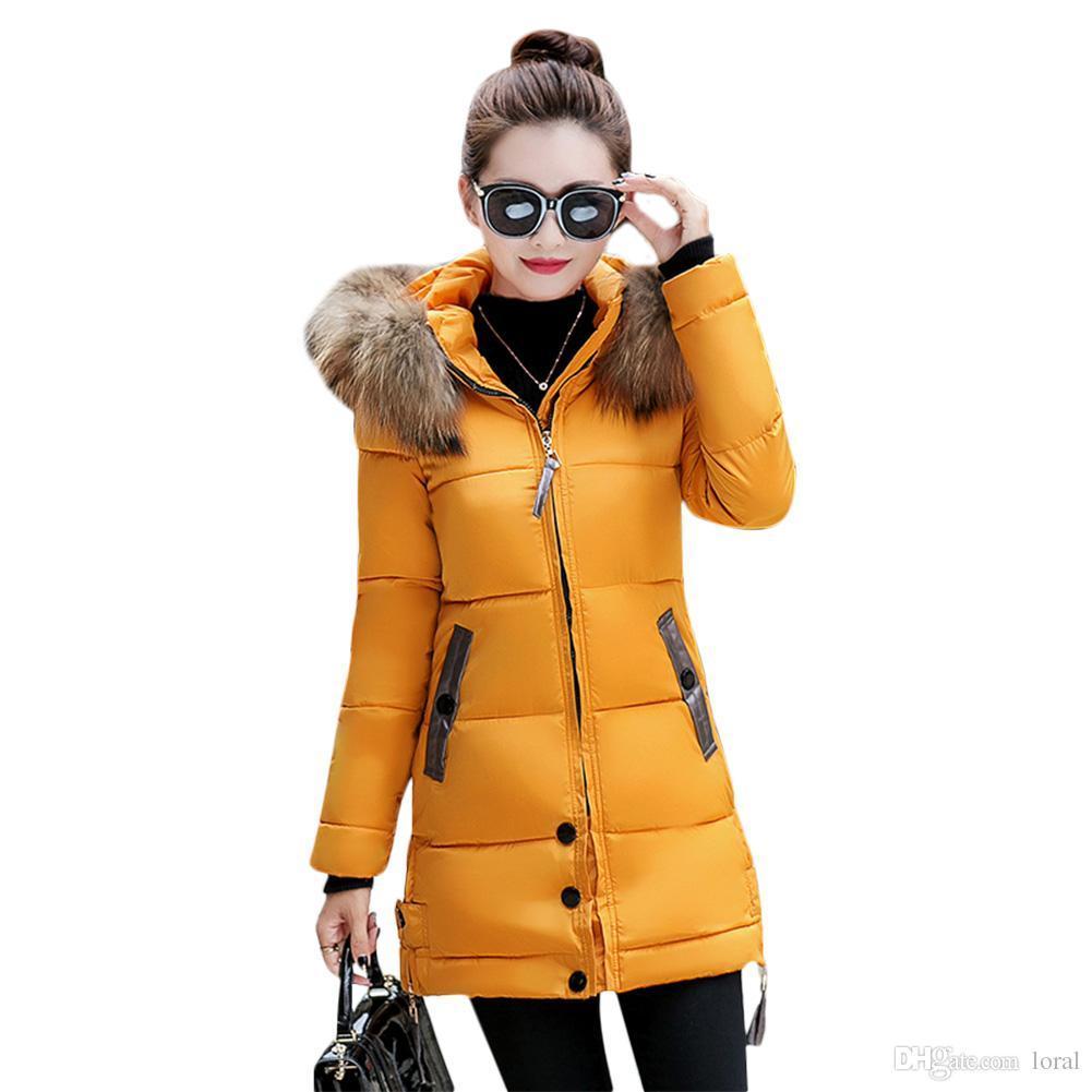 Cálido invierno de las mujeres abajo cubre la piel de imitación de la chaqueta con capucha Parka Puffer largo abrigo Mujer Prendas de Freeshipping