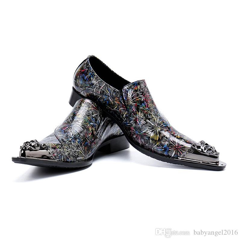 Italienische handgefertigte Männer Schuhe Formelle Leder Kleid Schuhe Muti Farbe wies Eisen Zehe Party und Hochzeit