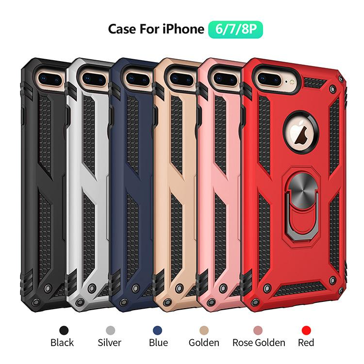 Military Level Shockproof Phone Case for iPhone 6P 7P 8P Ultra Light Magnetic 360 Metal Ring Car Magnetic Anti-Fall Phone Cover