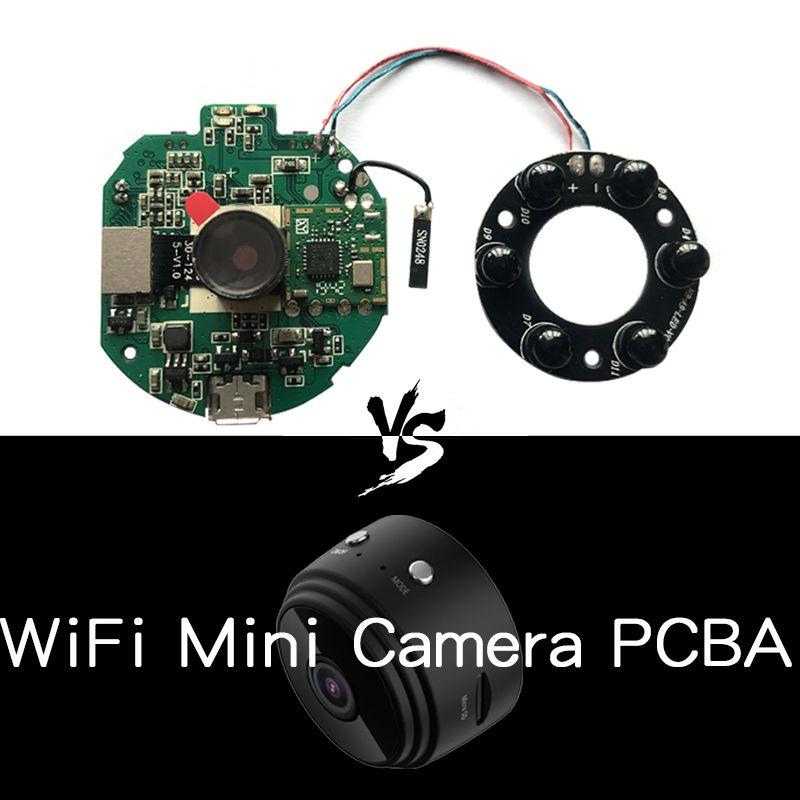 PCB semi-acabados Conselho PCBA Módulo V380 Pro APP Anyka monitoramento remoto Night Vision Câmeras HD A9 Wifi Spy escondido Segurança Camera Mini DV