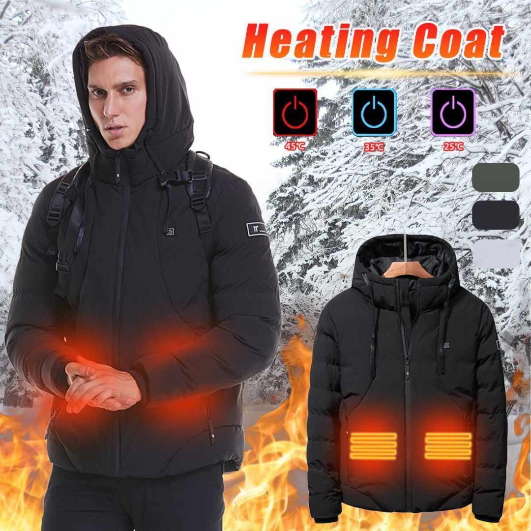 Winter-Männer Beheizte Jacke USB Heizung Kapuzenjacke Baumwollmantel für das Wandern Skifahren Thermo-Bekleidung Outdoor-Sport Windbreaker