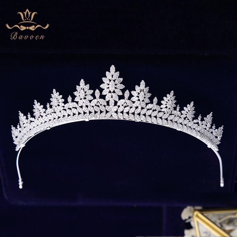 Oversize Real Príncipes Espumante Casamento Completo Zircon Nupcial Tiaras Coroas De Cristal Banhado Para Noivas Mulheres Jóias Cabelo T190629