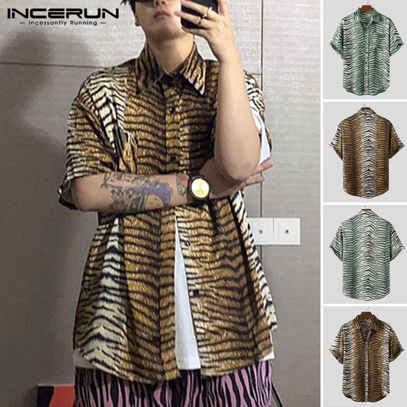 2020 Fashion Men Zebra Pattern Floral Shirts Casual Half Sleeve Lapel Shirts Man Summer Vintage Loose Tops Hombre Camisa INCERUN