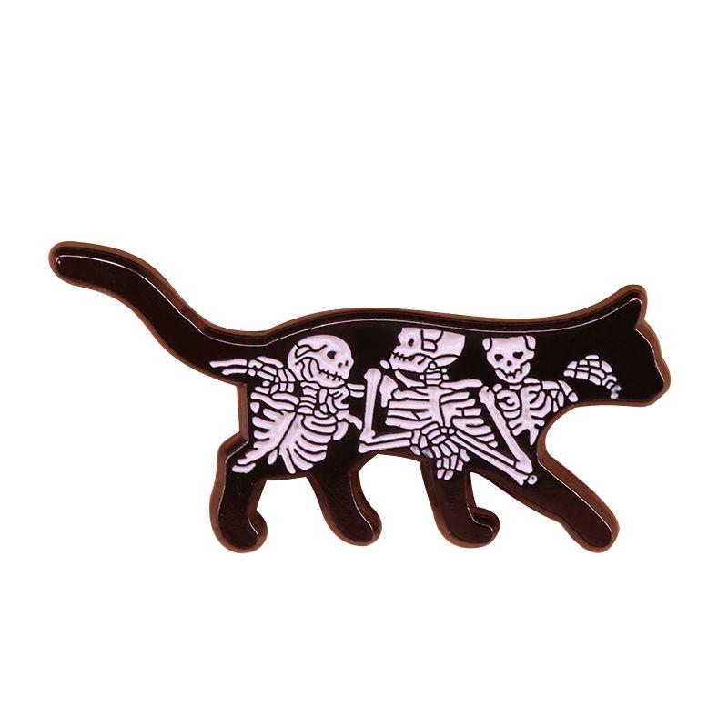 Skull cat enamel pin skeleton art badge Halloween gothic collection