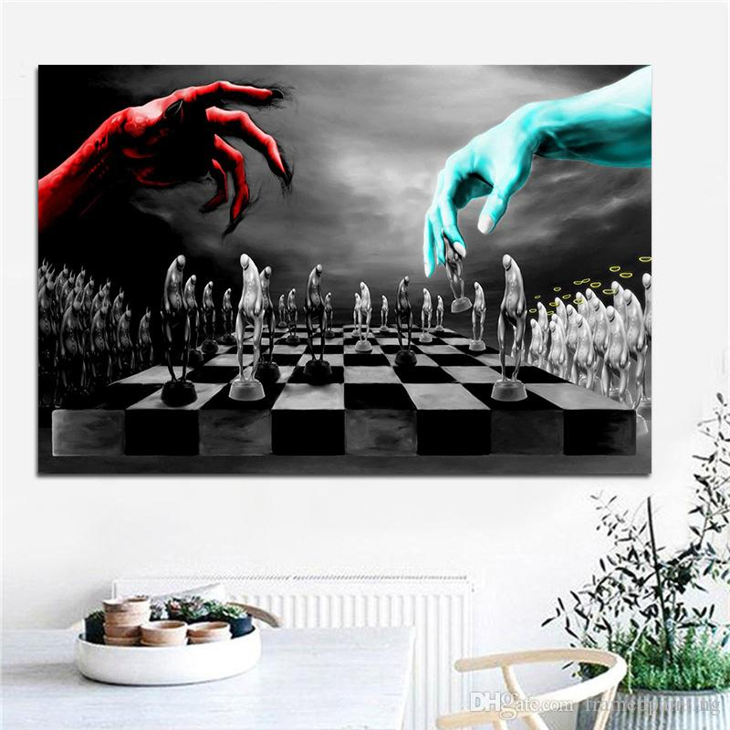 1 Pcs Good and Evil Chess Posters and Prints Canvas Painting Scandinavian Nordic Black and White Wall Picture for Kids Room No Frame