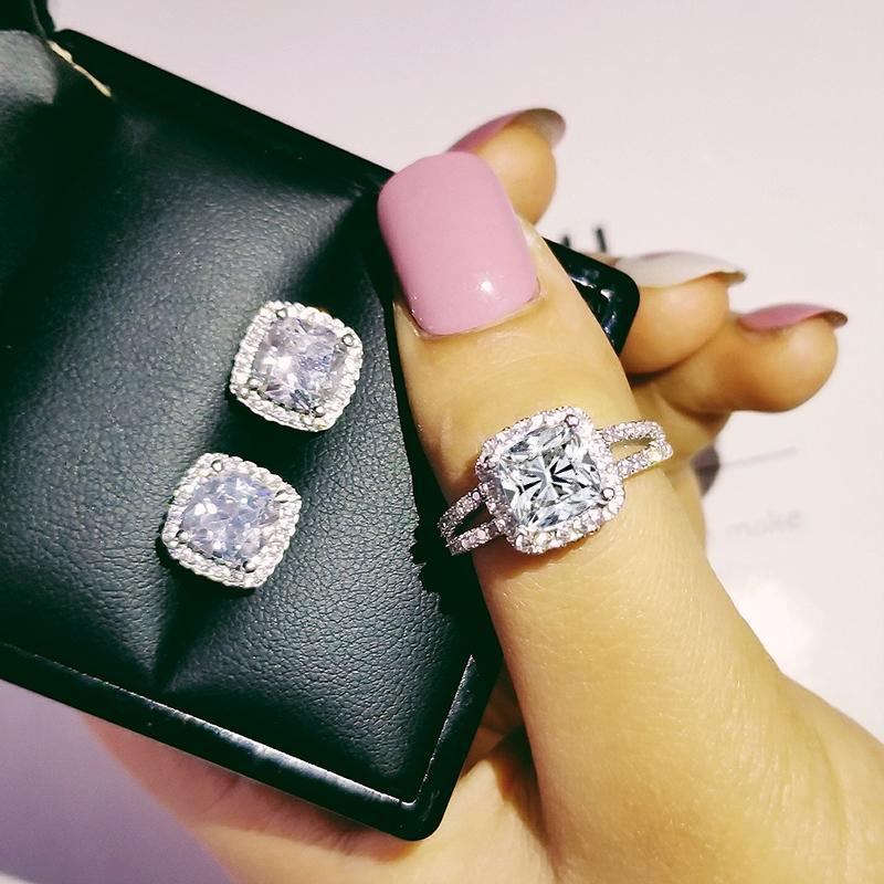 düğün nişan yüzüğü için 925 Gümüş minder kesim zirkon takı seti pembe Noel Hediyesi moonso J4639 küpe damızlık