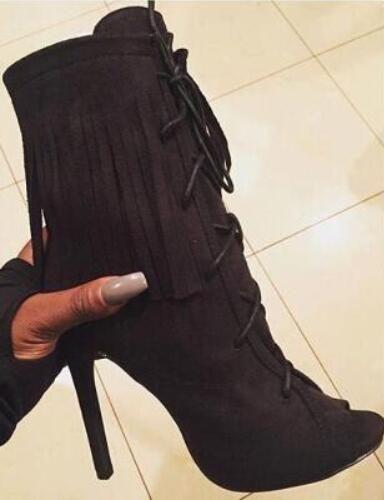 Hot Selling Women Peep toe Ankle Boots Suede Fringe Pumps Stiletto Heels Tassel Lace-up Dress shoes woman Women Size 34-42