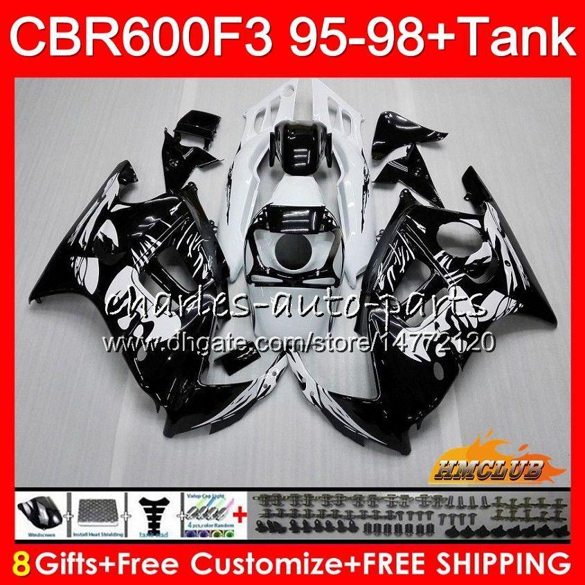 Kropp + Tank för Honda CBR 600F3 600CC CBR600 F3 95 96 97 98 41HC.0 CBR 600 FS F3 CBR600FS CBR600F3 1995 1996 1997 1998 Fairing Graffiti Black