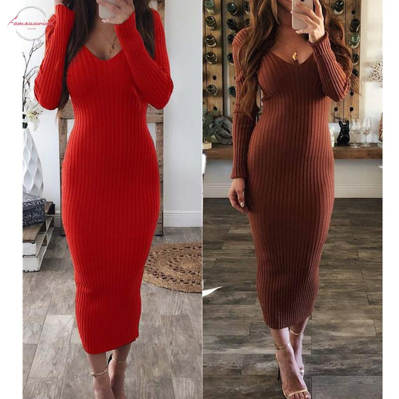 2020Winter Sexy col en V Robe en jersey Pull Automne tricot bodycon Maxi Pulls femme élégante Slim mode Pull Robes longues