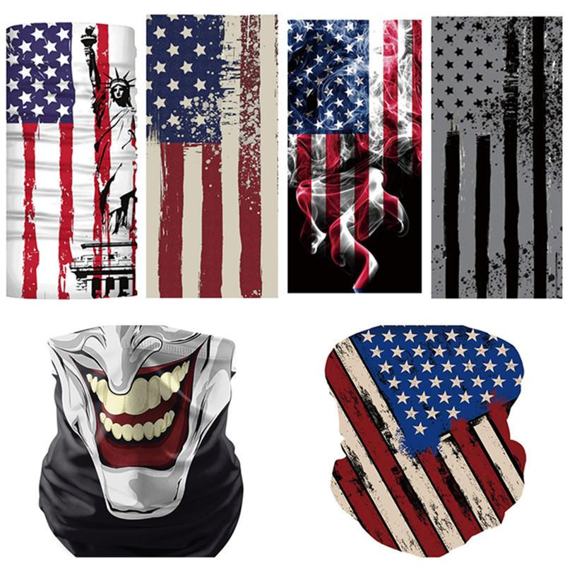 Outdoor Cycling Scarf American Flag 3D Print Face Mask Unisex Dustproof Sunscreen Scarves Bandana Tube Headwear Running Face Masks 8 Style