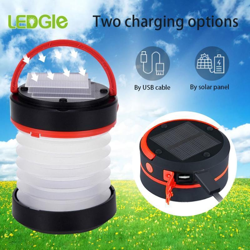 LEDGLE Güç Bankası Kamp Güneş Taşınabilir Fener Şarj edilebilir Kamp Malzemeleri 5V LED Çadır Fenerler Yürüyüş Lambası Işıklar