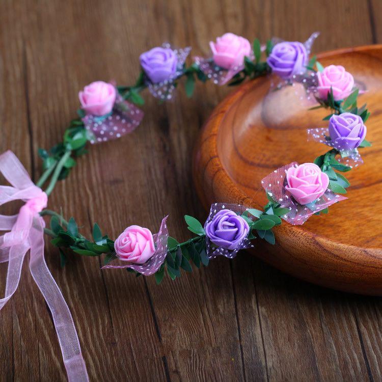 Nupcial do casamento da grinalda da flor Bohemian menina Cabeça de Flor Crown Rattan Garland Festival Floral Headband cocar Party Decoration GGA2313