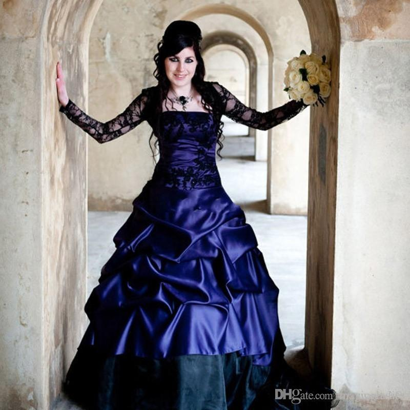 Victorian Gothic Plus Size Long Sleeve Wedding Dresses Sexy Purple and Black Ruffles Satin Corset Strapless Lace Bridal Gowns Plus Size