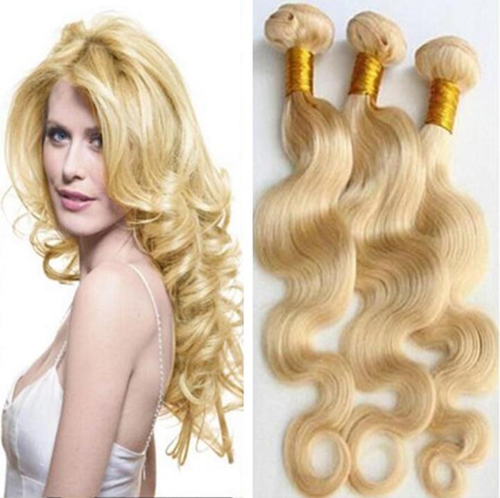 9A capelli biondo platino 613 vergine brasiliana lunghezza 3 pacchi misto 10-28inch trame non trasformati capelli umani