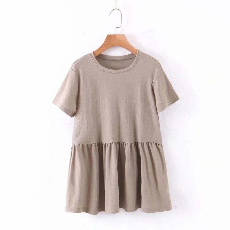 New 2020 Women basic o neck short sleek solid pleated commondly loose t-shirt female knitting chic T shirt retro brand t610