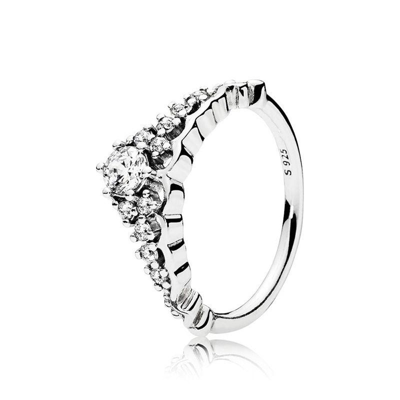 الأميرة ولي CZ خاتم الماس حجية 925 فضة صندوق مجموعة أنيقة الأصل لباندورا المرأة شحن مجاني خواتم الزفاف