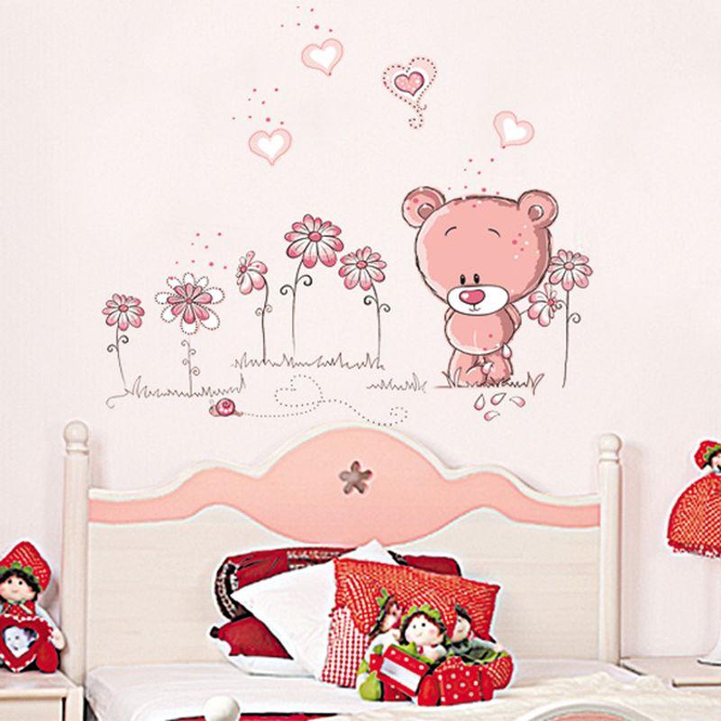 Милый розовый мультфильм животных любовь медведь цветок ребенка детей спальные комнаты декор стены стикеры дети детская стикера девушка подарок