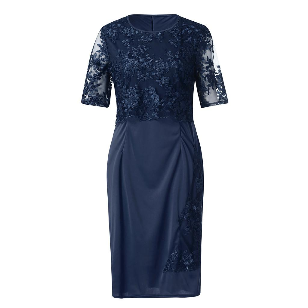 Women Dresses Spring Summer Dress Women Fashion Lace Elegant Mother Of Bride Dress Knee Length Plus Size Dress