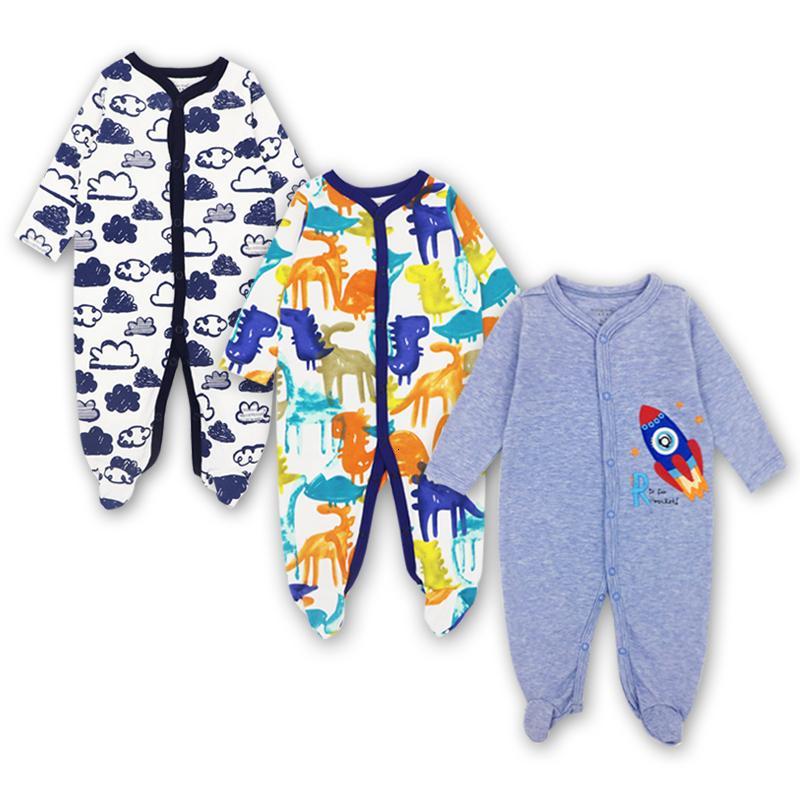 الوليد طفل الرضيع والطفل بذلة بنين بنات مجموعة ملابس 3 6 9 12 شهر Sleepsuit بيجامة الطفل الاطفال وتتسابق CJ191210