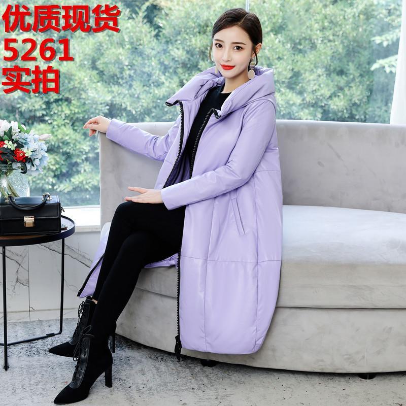 Женщины в Даун-Парчас Хэндская кожа Женщина в длинной денежной куртке Han Edition Свободные овечье пальто моды