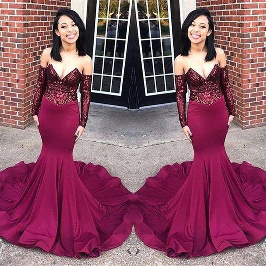 2020 Maroon Burgunder Abendkleider Mermaid Illusion Pailletten Lace Top Black Girls' Plus Size Pageant Abend-formale Partei-Kleider BC1250