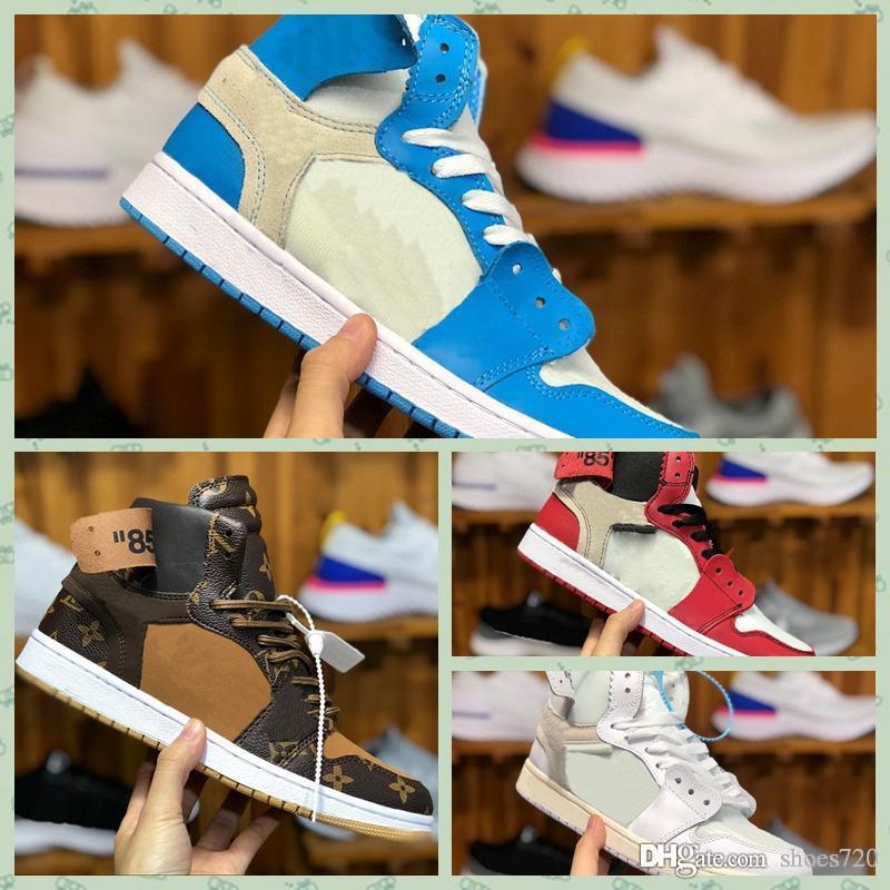Nike Air jordan 1 x Retro offwhite AJ1 high Fsat DHL Expédition OFF noir brwon 1hf 1s chaussures de plein air pour hommes trois baskets de mode limitée formateurs sport chaussure