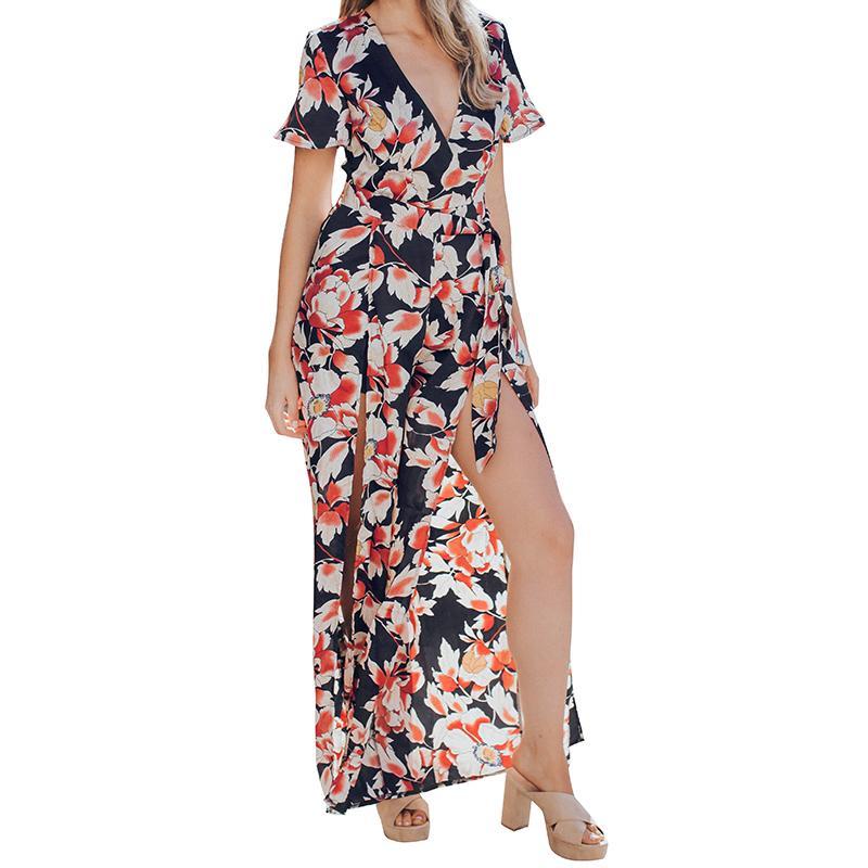 Verão Vintage Estampa Floral Macacão Mulheres Profundo Decote Em V Slit Legs Mangas Curtas Com Cinto Casual Playsuit Macacão 2019 Moda