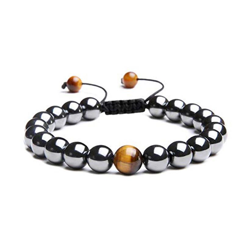 black beads bracelet mens adjustable Frosted stone Hematite stainless steel charm bracelet male Accessories wholesale hip hop