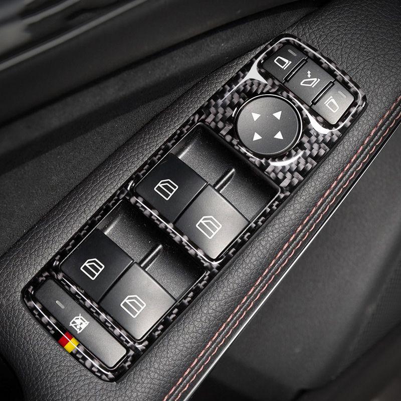자동차 도어 버튼 패널 카본 파이버 자동 스티커는 메르세데스 W204 W212 A / B / C / E 클래스 GLE GLA GL 액세서리에 대 한 커버