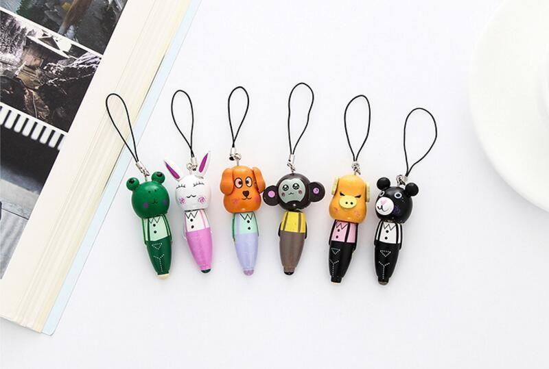 6 STYLES Mini Cute Kawaii Wooden Ballpoint Pens Cartoon Animal Ball Pen Great For Kids Gift Korean Stationery Student