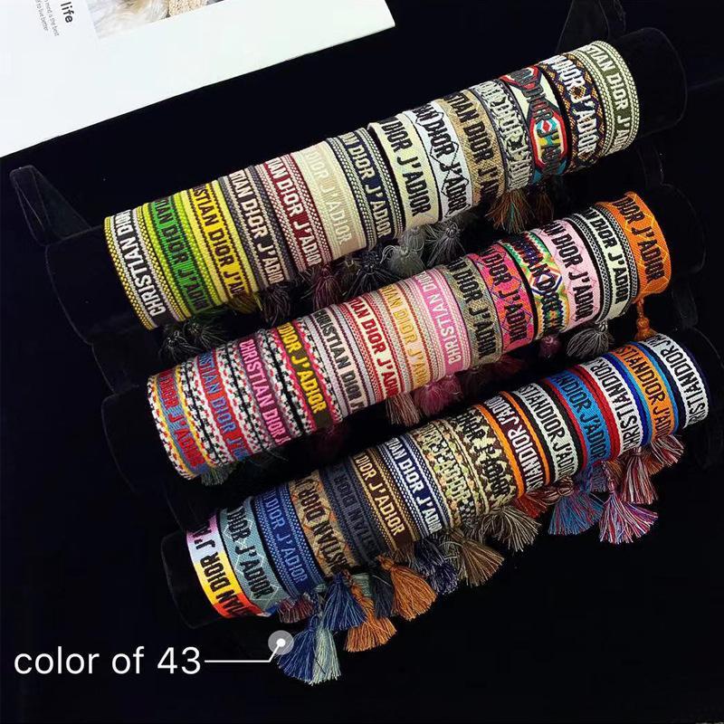 оптового браслет классического стиль сплетенных рук струна вышивка буква для мужчин и женщин сплетенной двойных канат браслетов 43 цвета
