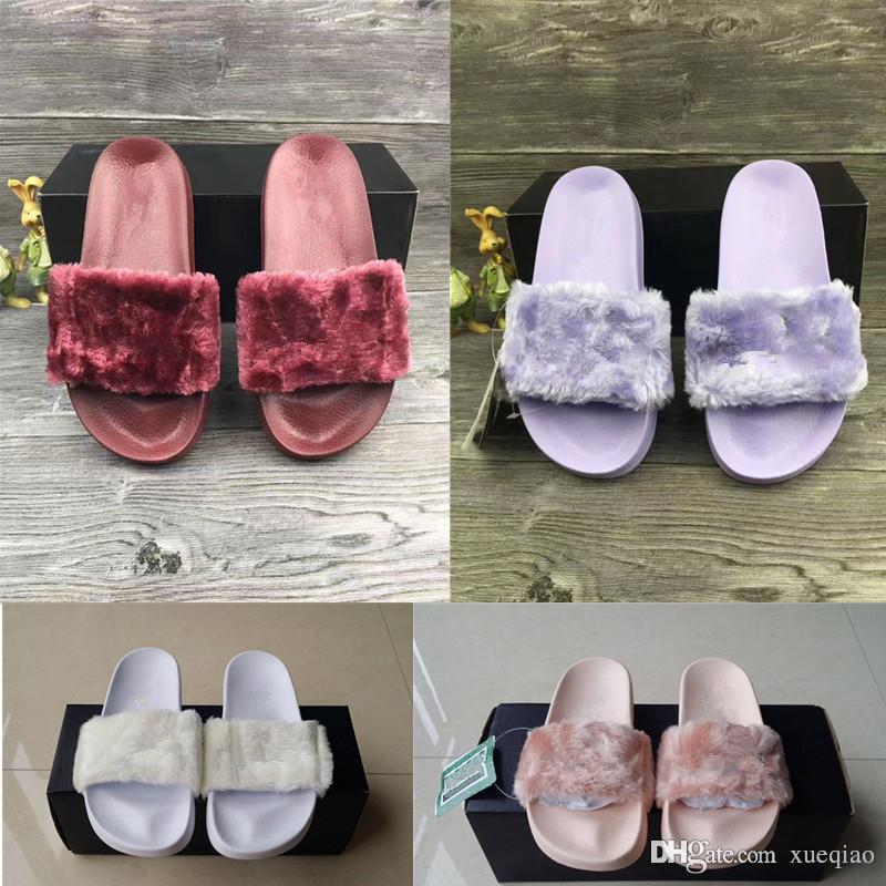 Leadcat Fenty Rihanna Faux Fur Slippers Women Girls Sandals Fashion Scuffs Black Pink Red Grey Blue Slides Top Quality Men Designer Slippers