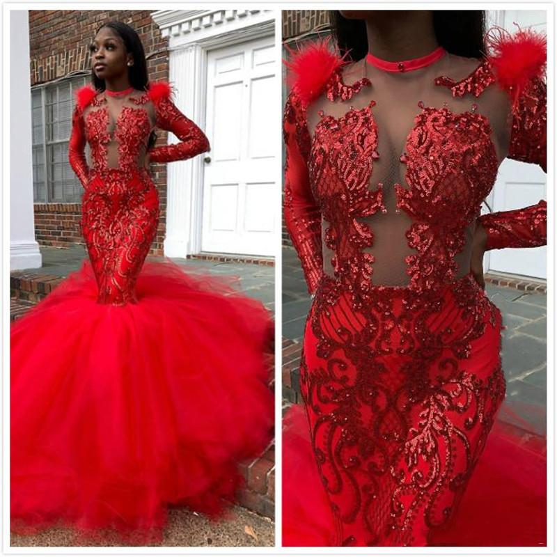 Arabic Aso Ebi Red Crystal Mermaid Prom Dresses Sexy Sparkly Lace Formal Evening Gowns Long Sleeve Cocktail Party Dresses Robe de soiree