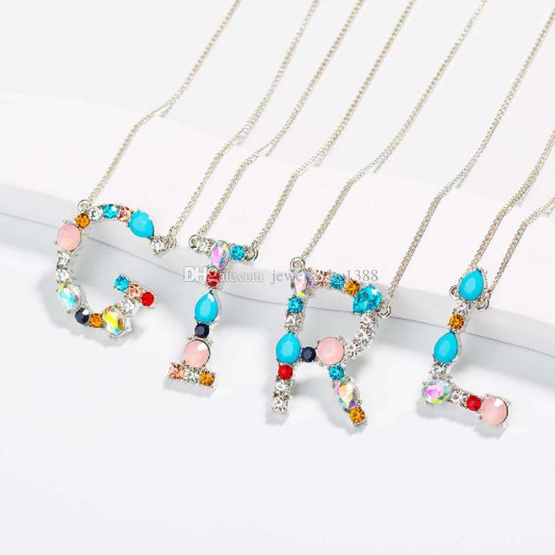 Plus récent A-Z Charm mode collier pendentif 26 Mot alphabet Lettre Colliers Lady Sliver Or Couleur longue chaîne Bijoux cadeau