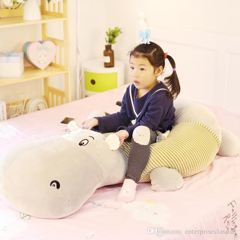거대한 귀여운 하마 봉제 인형 큰 만화 지방 하마 장난감 남자 친구 긴 베개 침대 쿠션 수면 베개 53 인치 135 센치 메터