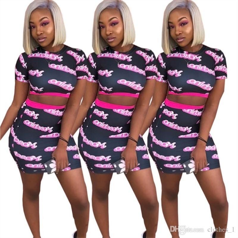 المرأتين قطعة اللباس قميص قصير الأكمام الصيف + تنورة قصيرة bodycon اللباس أزياء مثير تنورة عالية الجودة klw1106
