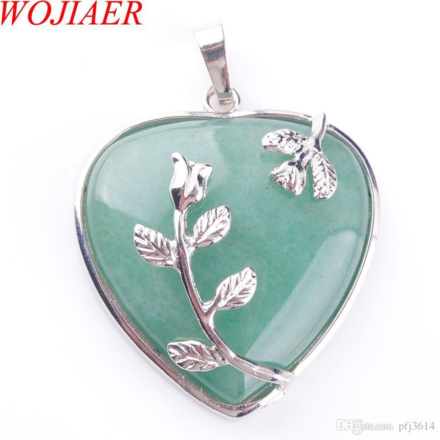 Charms WOJIAER Bohemian estilo Mulheres Jóias do amor do coração da pedra de gema colares Natural Aventurine Stone pingente de DN3182