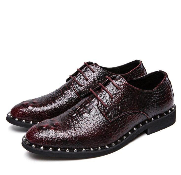 dos homens Crocodile vestido de couro sapatos de amarrar festa de casamento sapatos de negócios Escritório Oxfords Flats Plus Size Men Moda