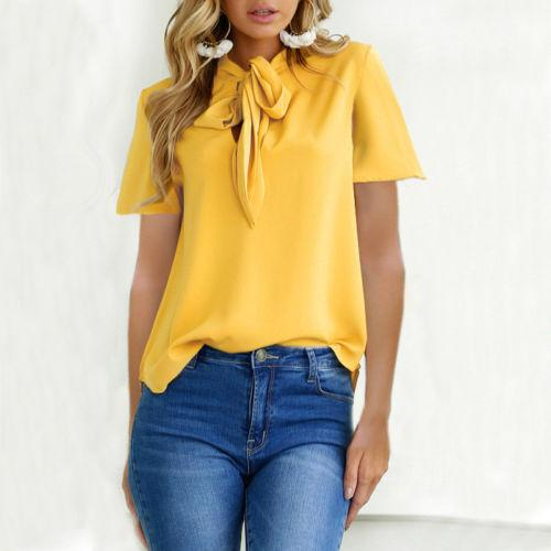 Femmes Lady Femme d'été T-shirt à manches courtes Casual blouse ample en mousseline de soie lèvres Tops Chemise Chemisier