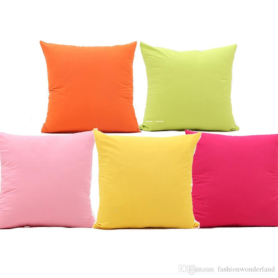 Pink Green Yellow Red Orange Blue Solid Color Cushion Cover Pillow Covers  45X45cm Decorative Sofa Pillow Case For Car Sofa Couch Seat Lawn Chair ...